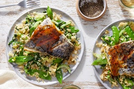Orange-Soy Barramundi & Fried Rice with Snow Peas & Bok Choy