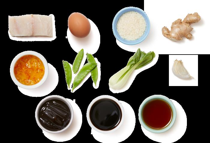 Orange-Soy Barramundi & Fried Rice with Snow Peas & Bok Choy
