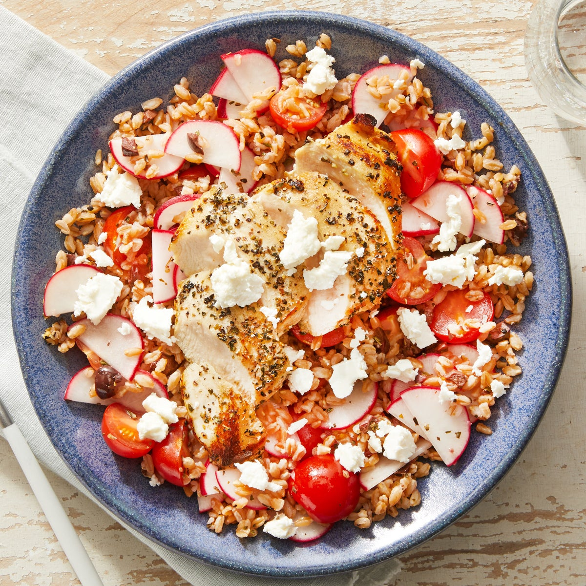 Greek Chicken & Farro Salad with Lemon-Oregano Dressing