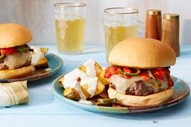 Monterey Jack Cheeseburgers topped with Poblano & Tomato Salsa