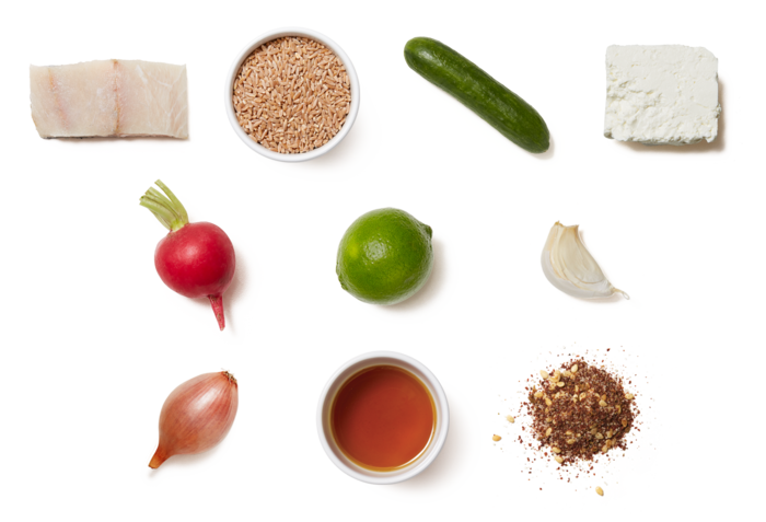 Za'atar-Spiced Barramundi with Marinated Vegetable  & Farro Salad