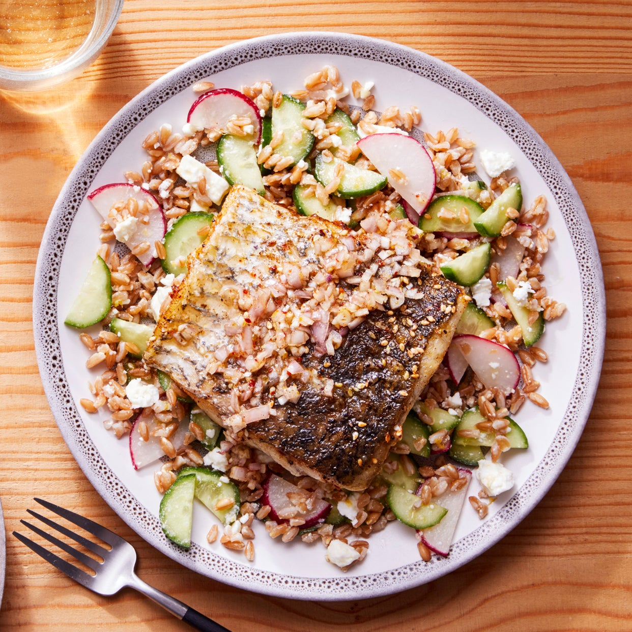 Za'atar-Spiced Barramundi with Marinated Vegetable  & Farro Salad