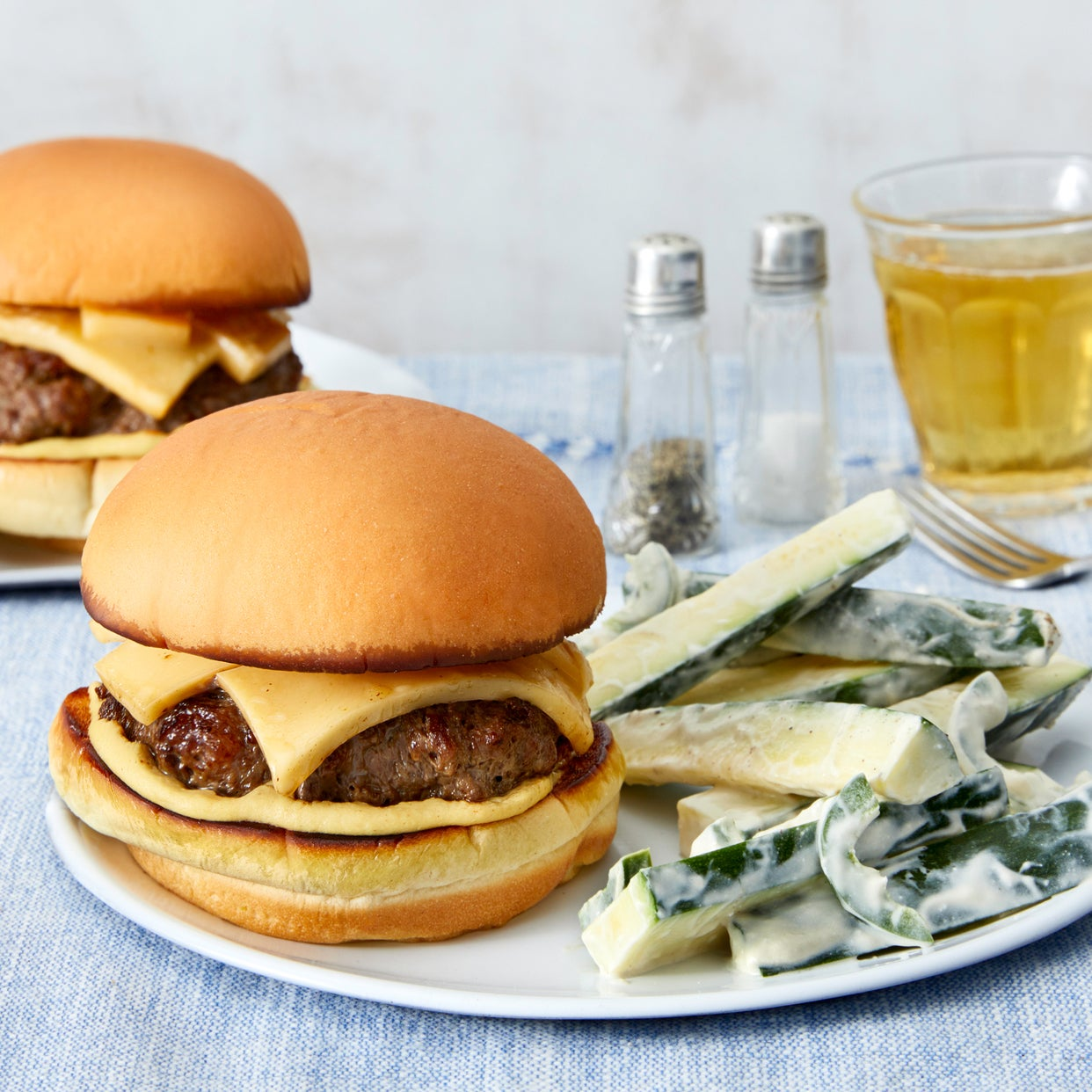 Smoked Gouda Cheeseburgers with Spicy Zucchini Slaw