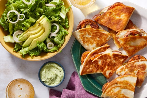 Roasted Sweet Potato Quesadillas with Avocado Crema  & Green Leaf Lettuce Salad