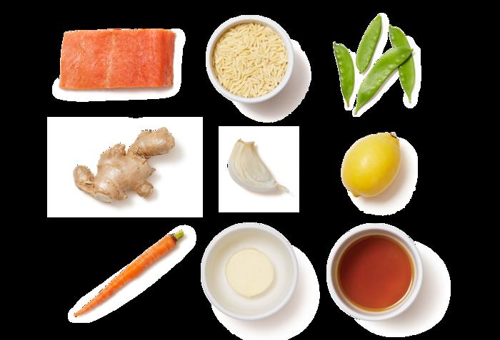 Lemon-Ginger Salmon over Carrots, Spring Peas, & Orzo
