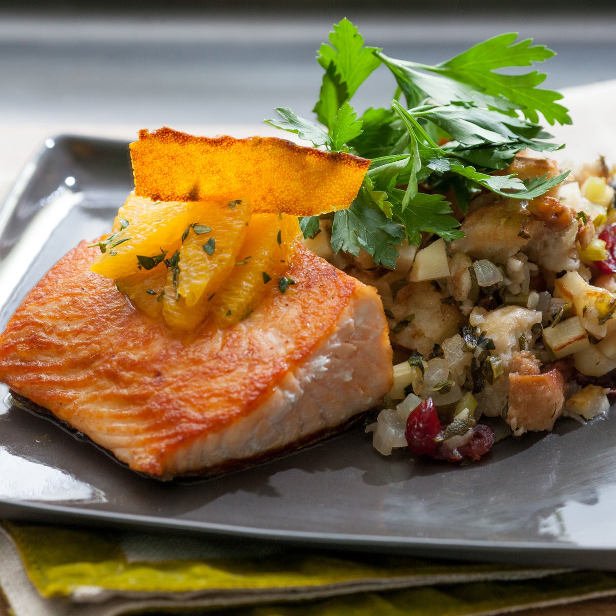 Pan-Seared Salmon with Candied Orange Peel & Cranberry-Walnut Stuffing
