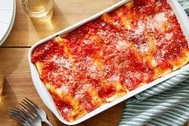 Broccoli & Ricotta Cannelloni with Spicy Tomato Sauce