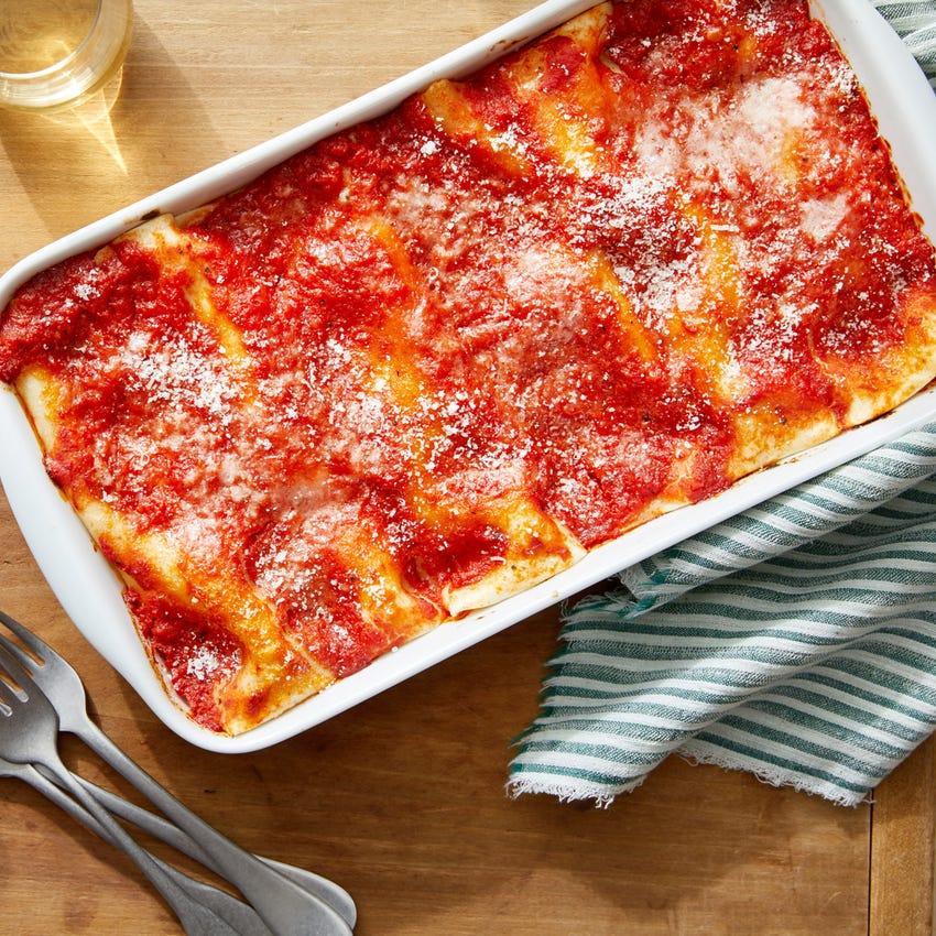 Broccoli & Ricotta Cannelloni with Spicy Tomato Sauce