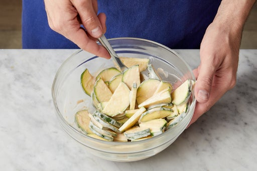 Marinate the zucchini: