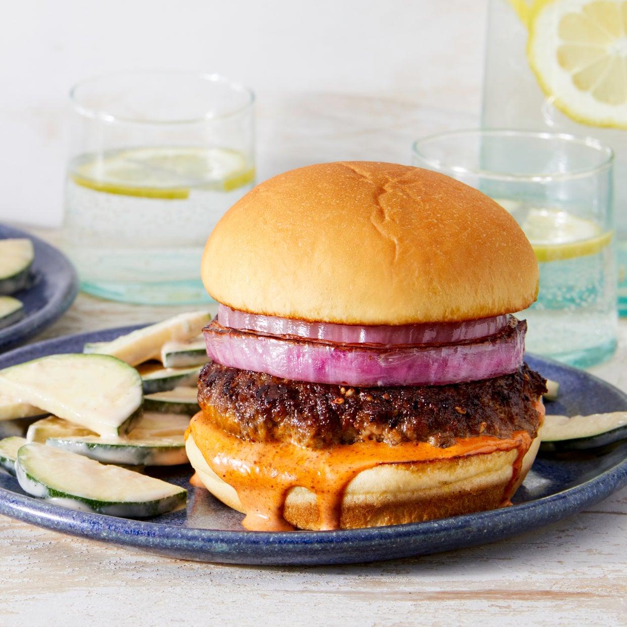 Za'atar-Spiced Beef Burgers with Harissa Mayo & Tahini Zucchini
