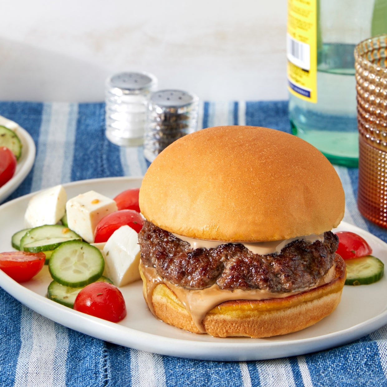 Balsamic Burgers with Mozzarella, Tomato, & Cucumber Salad