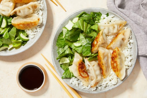 Seared Beef Dumplings & Jasmine Rice with Sesame-Garlic Bok Choy Salad