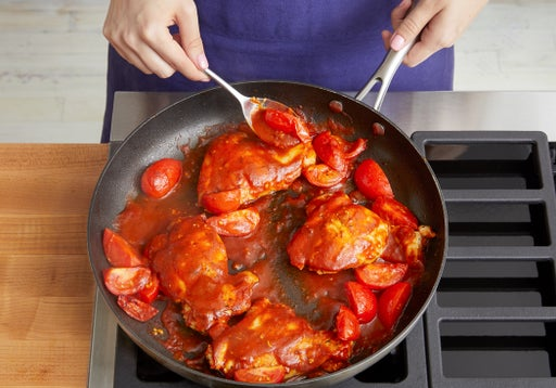Prepare the tomatoes & cook the chicken: