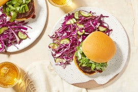 Juicy Beef Burgers & Soy-Miso Mayo with Yuzu Cabbage Salad