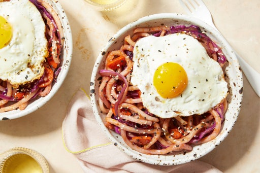 Sweet & Spicy Udon Noodles with Fried Eggs & Vegetables
