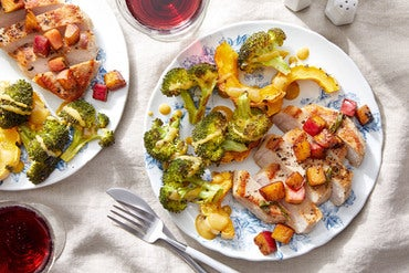 Seared Pork Chops with Roasted Vegetables and Maple-Mustard Sauce