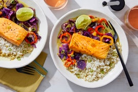 Coconut & Vadouvan Salmon with Cabbage & Sweet Pepper Stir-Fry