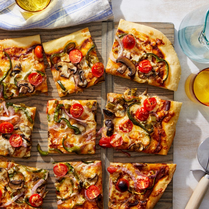 Barbecue Vegetable Flatbread with Swiss Cheese