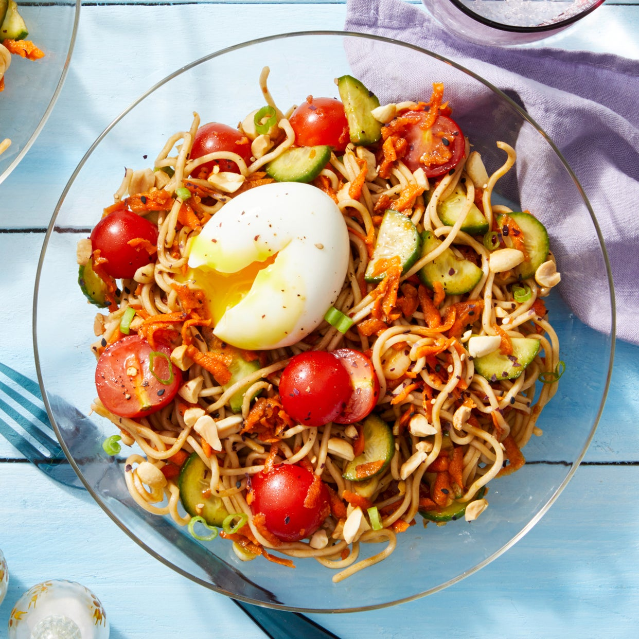 Marinated Vegetable & Soba Noodle Salad with Soft-Boiled Eggs & Peanuts