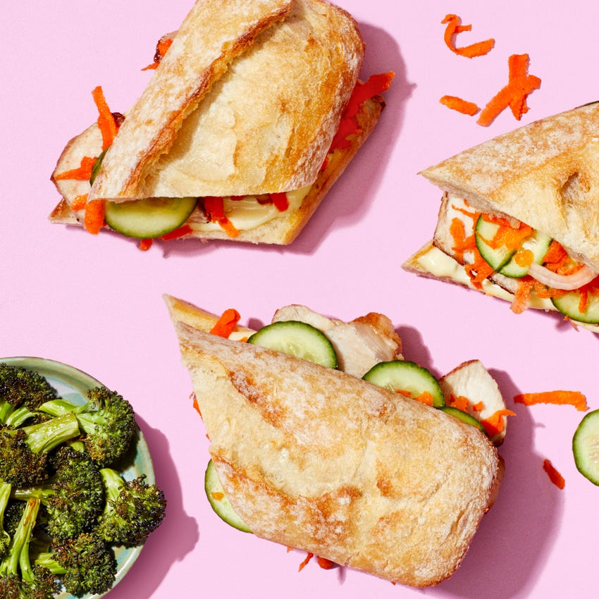 Chrissy Teigen's Pork Bánh Mì with Quick Pickles & Roasted Broccoli