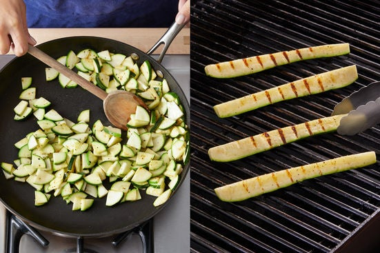 Prepare & cook the zucchini: