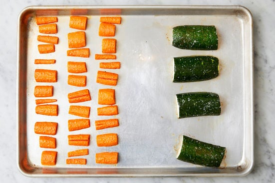 Roast the vegetables & glaze the carrots: