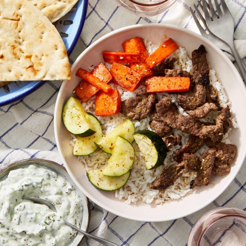 Beef Shawarma Bowls with Harissa-Glazed Carrots & Tzatziki Sauce