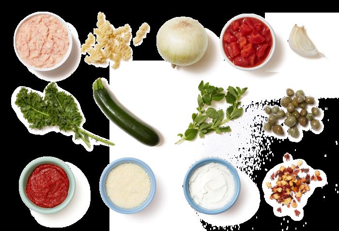Chicken Ragù & Fusilli Pasta with Oregano & Kale