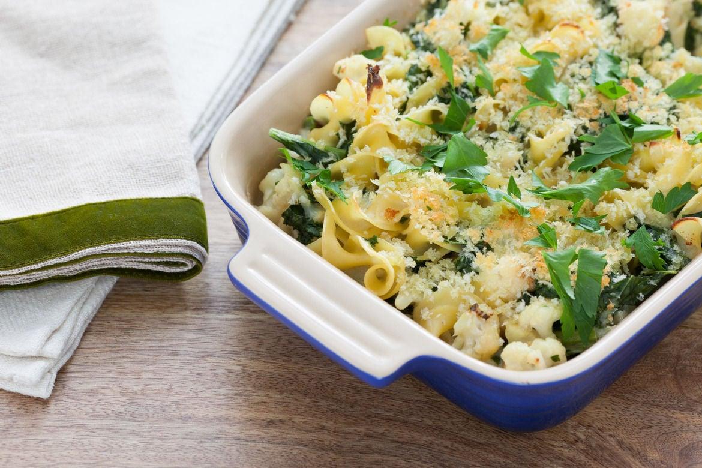 Creamy Kale & Cauliflower Casserole with Horseradish-Spiced Béchamel