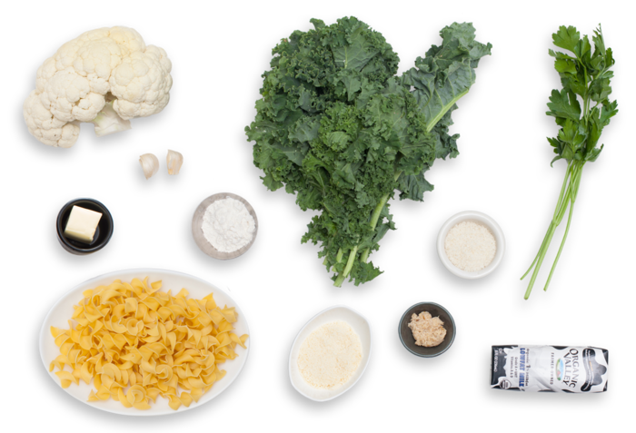 Creamy Kale & Cauliflower Casserole with Horseradish-Spiced Béchamel ingredients