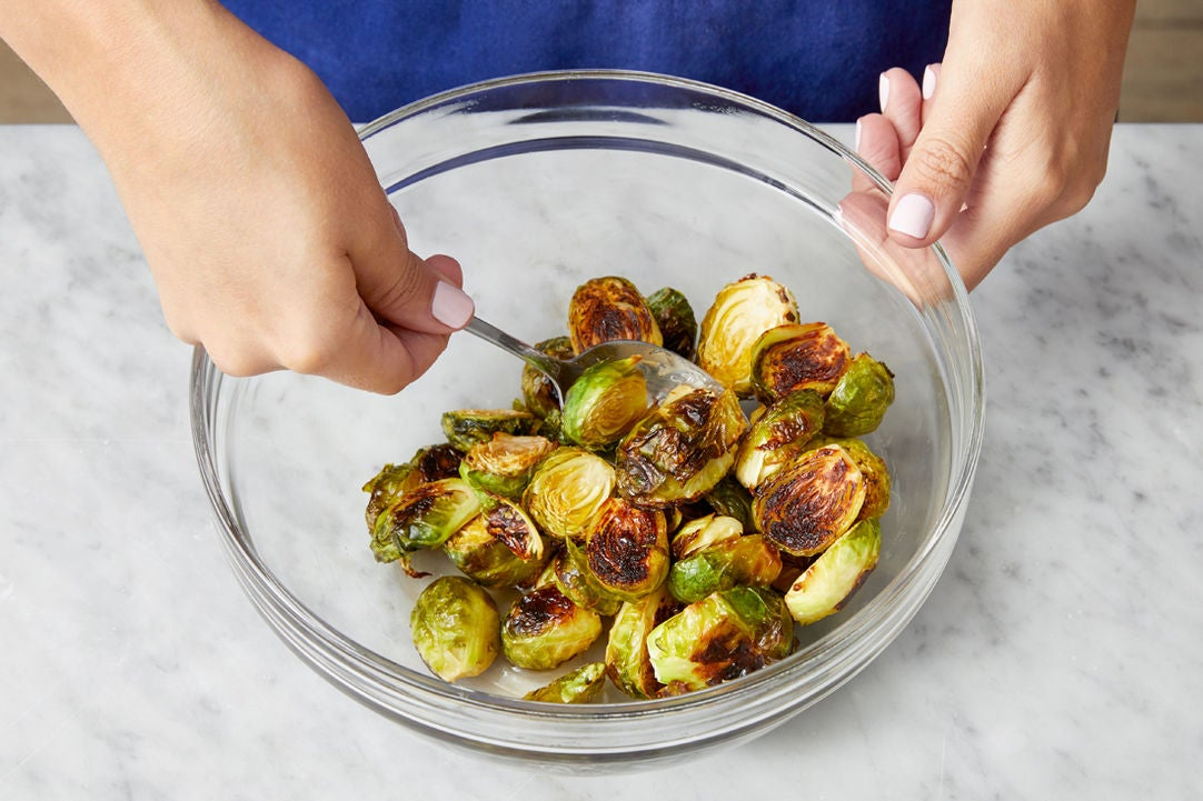Roast & dress the Brussels sprouts: