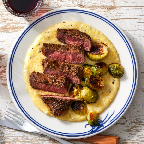 MasterChef Junior Seared Steaks & Maple Brussels Sprouts with Creamy Rosemary Polenta