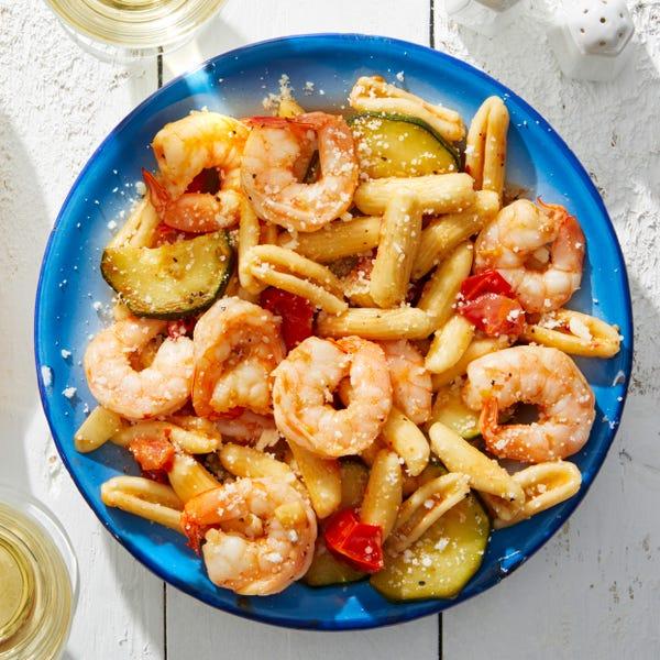 Cavatelli & Shrimp with Summer Vegetables