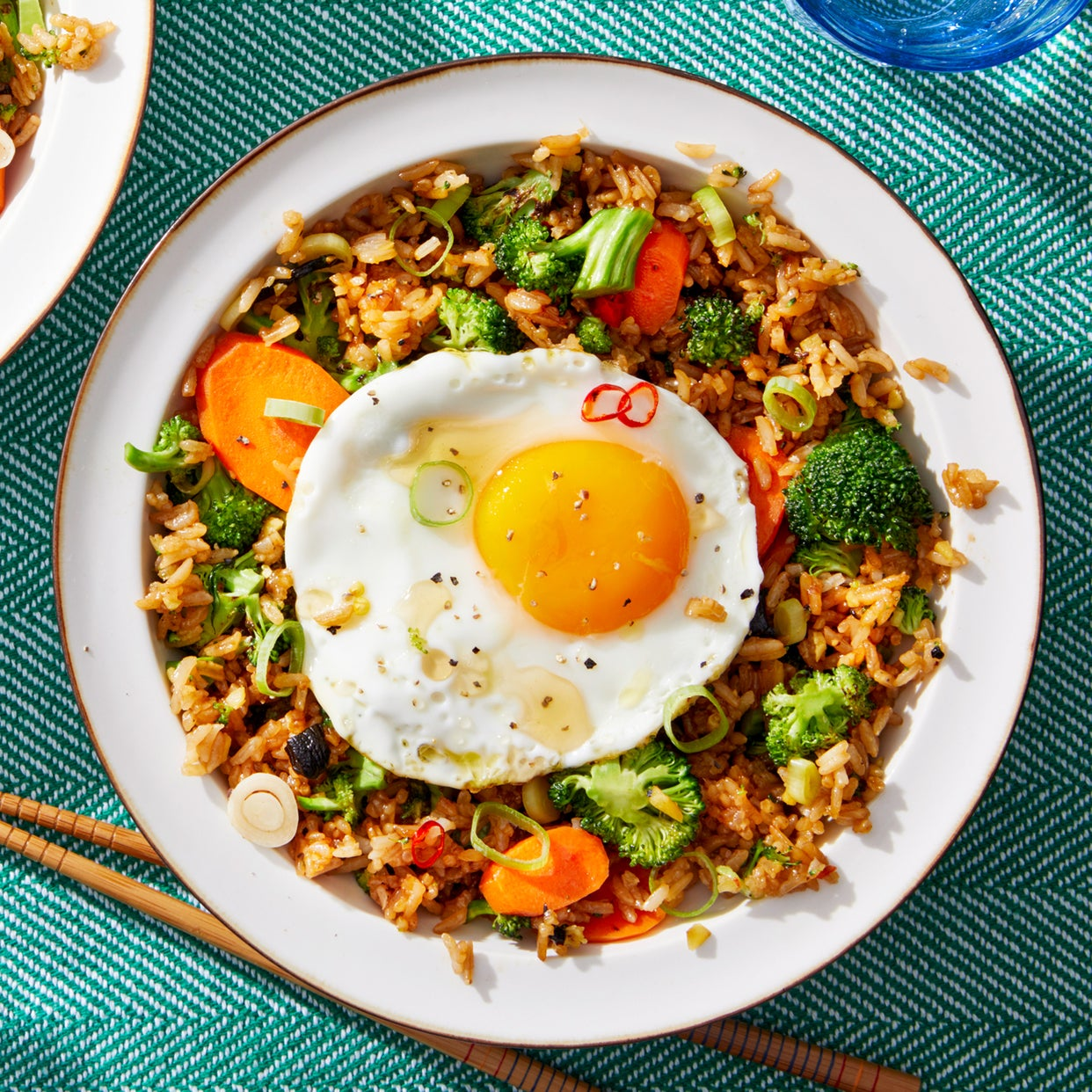 Vegetable Fried Rice with Broccoli, Carrots, & Spicy Pepper Sauce