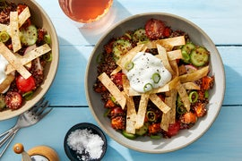 Chipotle Sweet Potato & Quinoa Bowl with Marinated Vegetables & Crispy Tortilla Strips
