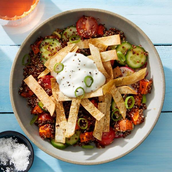 Chipotle Sweet Potato & Quinoa Bowl with Marinated Vegetables & Crispy Tortilla Strips