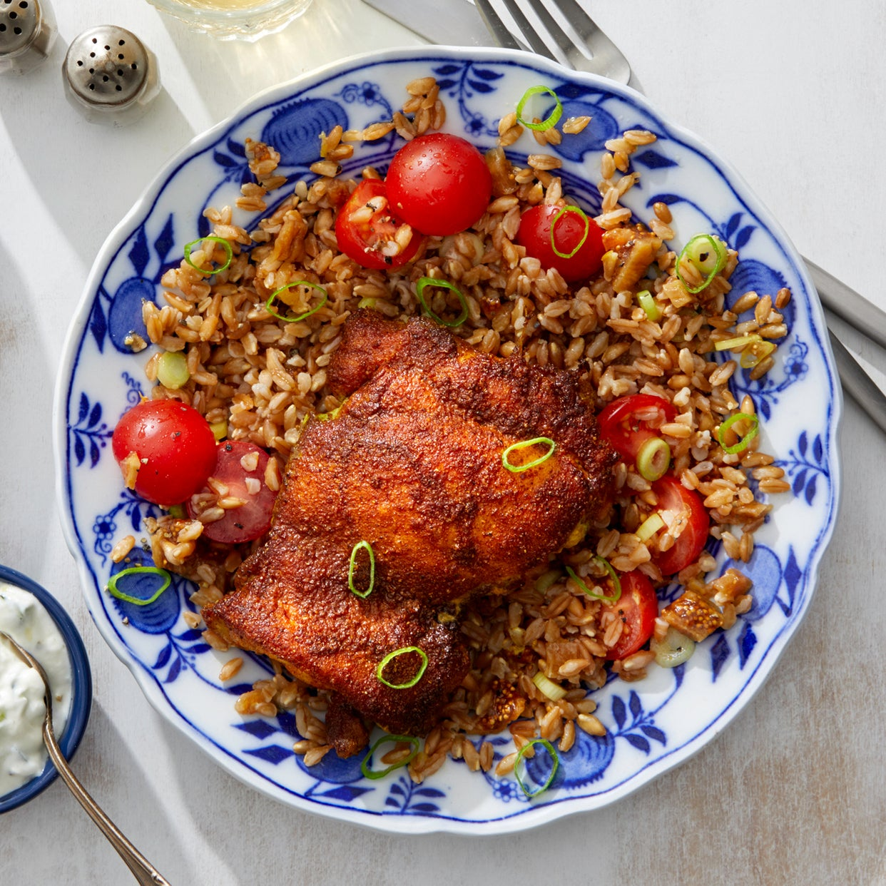 Ras el Hanout Chicken with Farro Salad and Cucumber-Yogurt Sauce