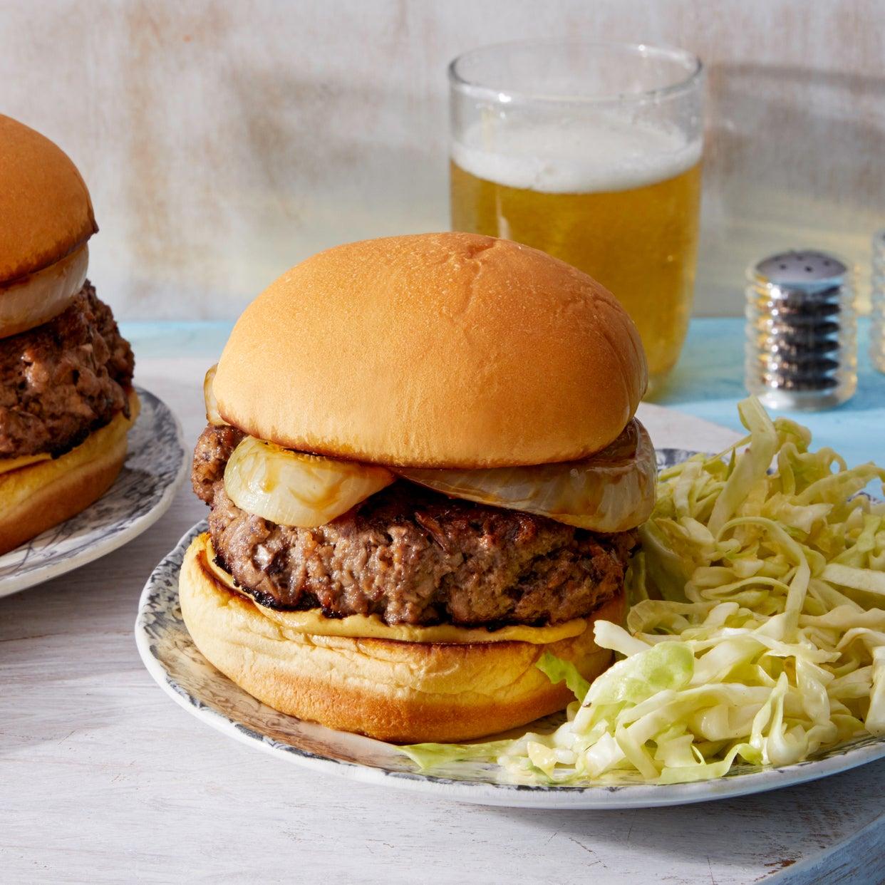 Beef & Mushroom Burgers with Roasted Onion & Marinated Cabbage
