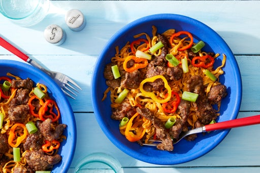 Mongolian Beef & Noodles with Sweet Peppers & Scallions