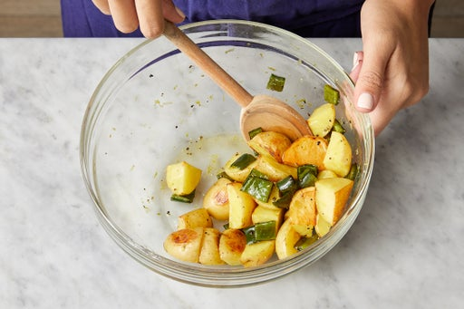 Dress the vegetables & serve your dish: