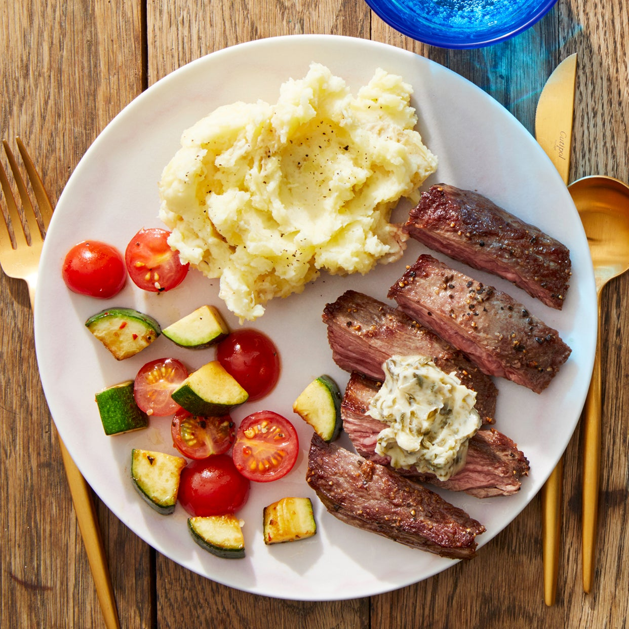 Seared Steak & Garlic-Mashed Potatoes with Summer Vegetables
