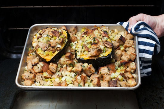 Stuff the squash & plate your dish: