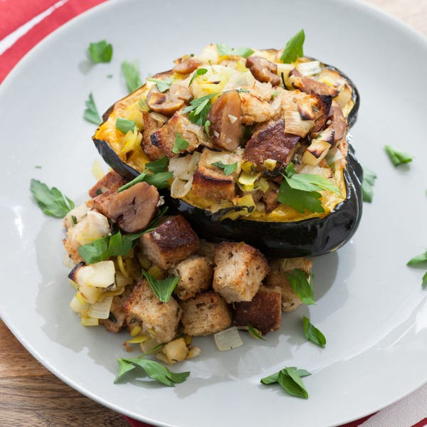 Baked Acorn Squash with Chestnut, Leek & Apple Stuffing