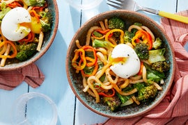 Vegetable & Udon Noodle Stir-Fry with Soft-Boiled Eggs