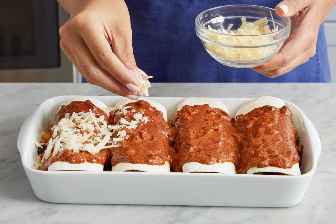 Assemble the enchiladas: