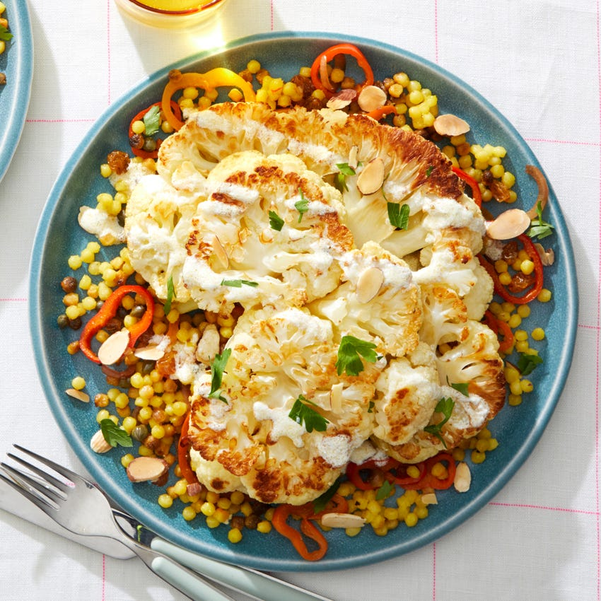 Roasted Cauliflower & Saffron Pasta with Goat Cheese Dressing