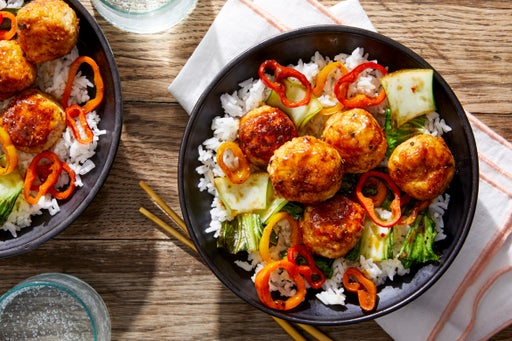 Chinese Chicken Meatballs with Bok Choy & Sweet Peppers