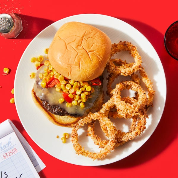 Cheeseburgers with Corn-Pepper Salsa The Quantum of Salsa Burger
