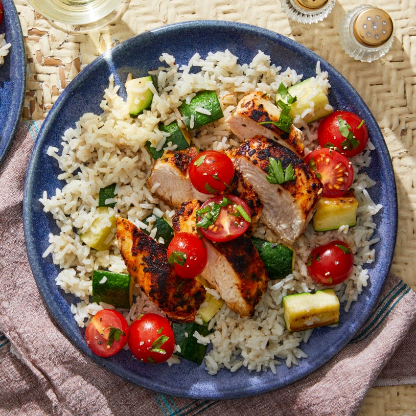 Seared Chicken Breasts with Brown Butter Rice & Marinated Tomatoes