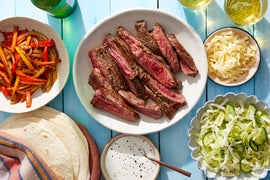 Steak, Pepper, & Onion Fajitas with Tangy Slaw